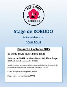 Affiche stage kobudo du 4 octobre 2015