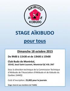 Affiche stage aikibudo du 18 octobre 2015